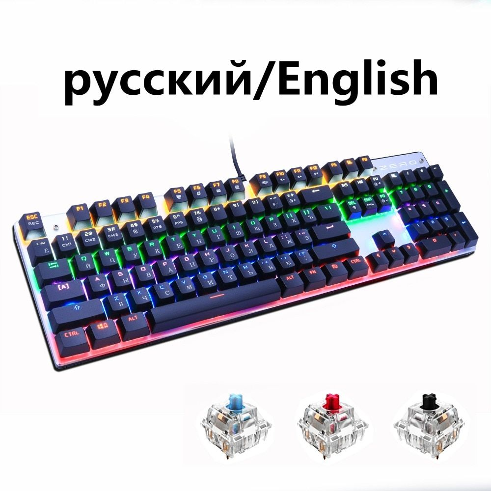 METOO <font><b>ZERO</b></font> Gaming Mechanical Keyboard Blue/Black/Red Switch Anti-ghosting Backlight Teclado Wired USB for Gamer Russian/English