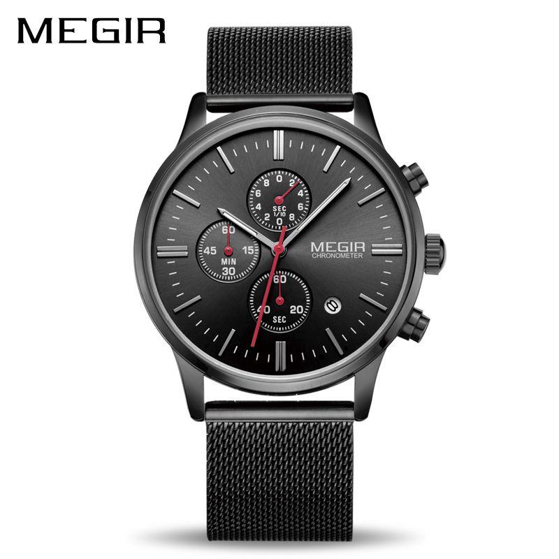 <font><b>MEGIR</b></font> Watch Men Stainless Steel Quartz Men Watches Chronograph Watch Clock Men Relogio Masculino for Male Students Relogios