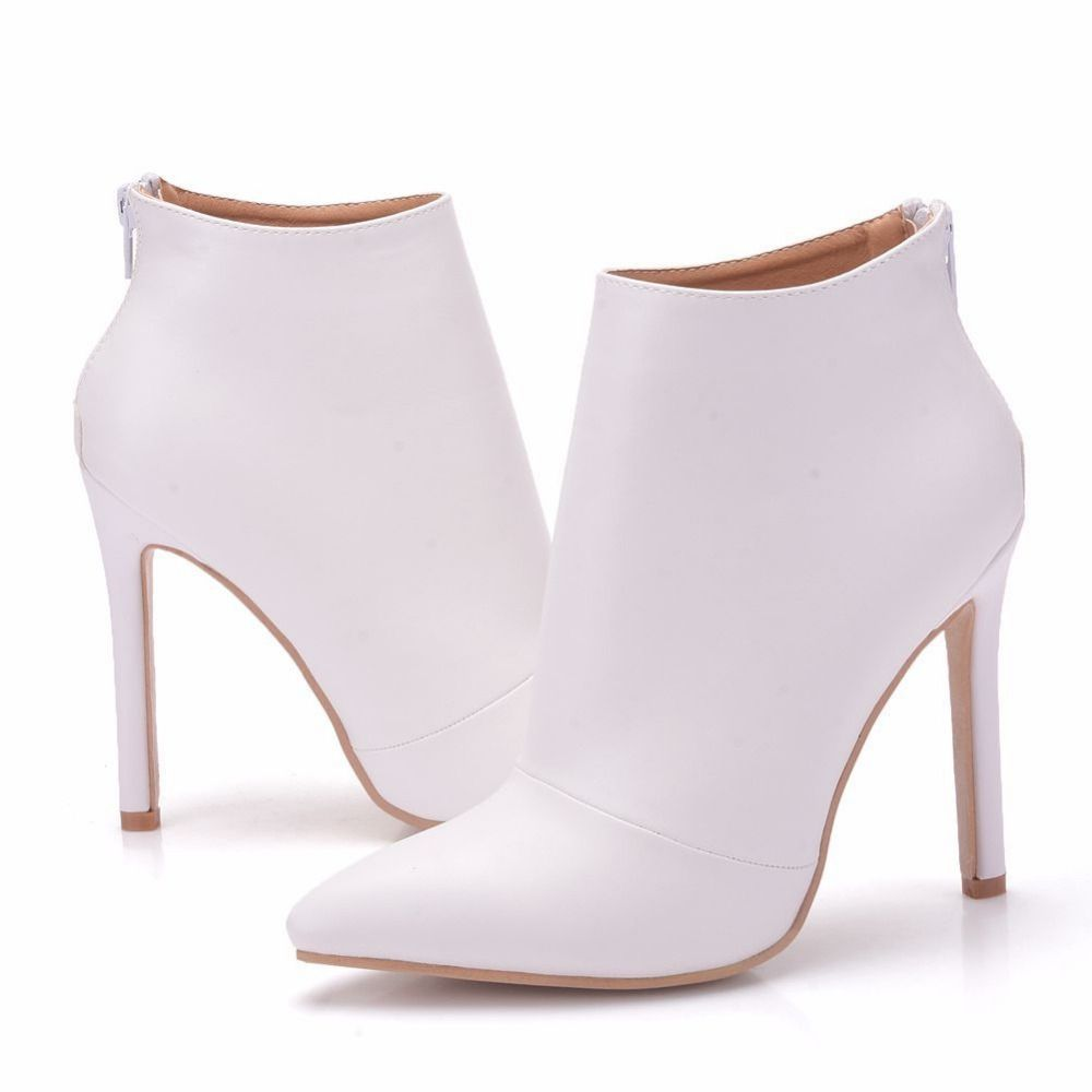 2018 Women Boots Slip On Footwear Zip Ankle Boots White Leather Boots Women Pumps High Heels 11CM Pointed Toe Boots Female Shoes