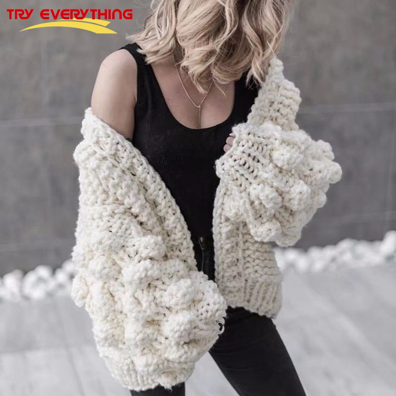 Try Everything Hand Knitted Cardigan Women 2018 Fashion Winter Coat Long Sleeve Cardigan Sweater Women Winter Tops Clothes Beige