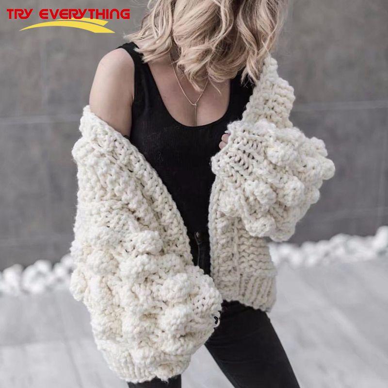 Versuchen Alles Hand Gestrickte Strickjacke Frauen 2018 Mode Winter Mantel Langarm Strickjacke Pullover Frauen Winter Tops Kleidung Beige