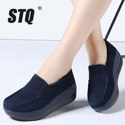 STQ 2018 primavera mujeres plataforma plana zapatos señoras suede cuero zapatos planos de las mujeres resbalón-en zapatos mocasines creepers calzado 828