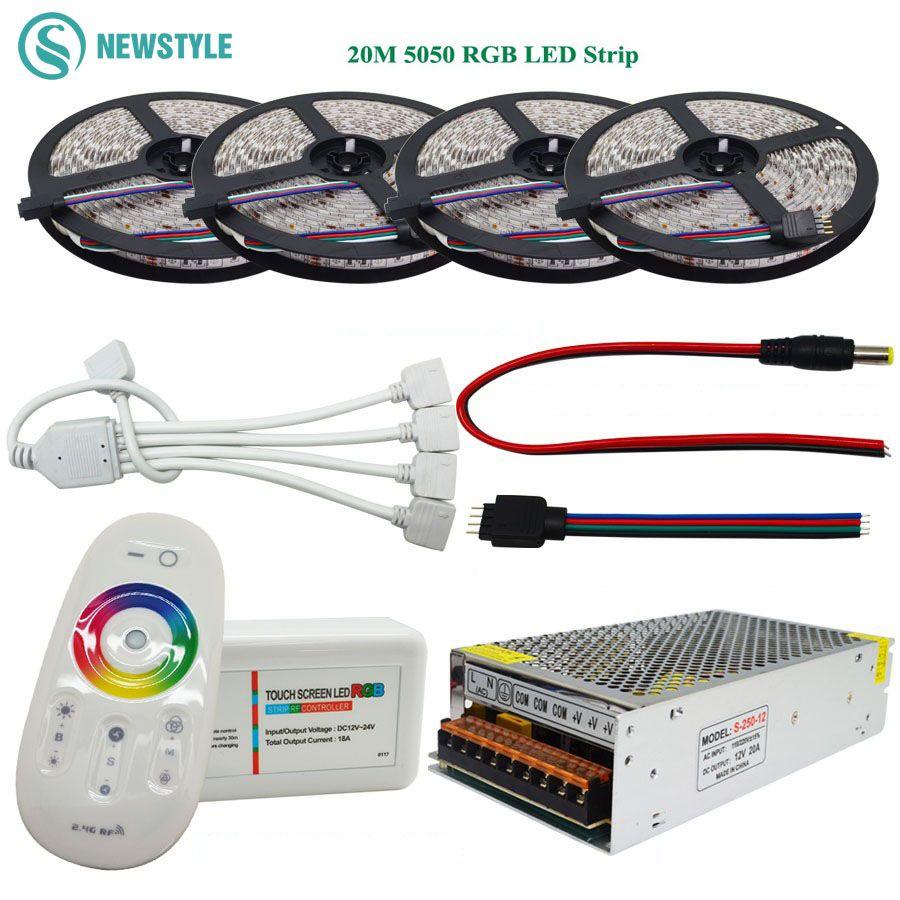 DC12V RGB Led Strip 5050 waterproof 60led/m Led Light Flexible Tape 5M 10M 15M 20M+RF Remote Controller+Power Adapter Supply