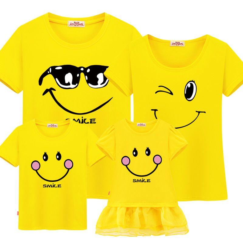 Famille Correspondant Vêtements Mère Fille Robes Tenues Coton Casual T-shirt Famille Look Père Fils Famille De Noël Vêtements