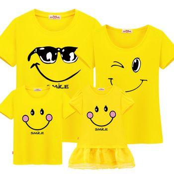 Famille correspondant vêtements mère fille robes fils tenues coton casual à manches courtes T-shirt famille look père bébé vêtements
