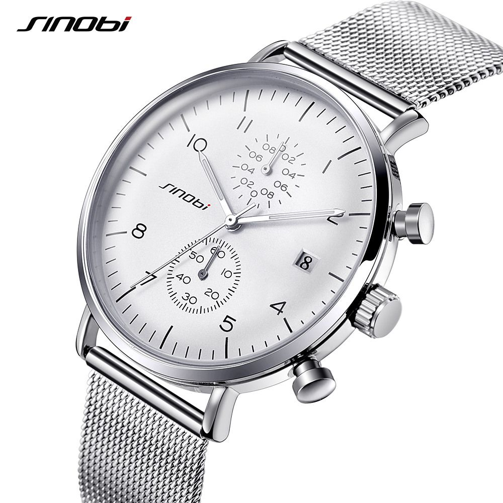 SINOBI New Men Watch Brand Business Watches For Men Ultra Slim Style Wristwatch JAPAN Movement Watch Male Relogio Masculino