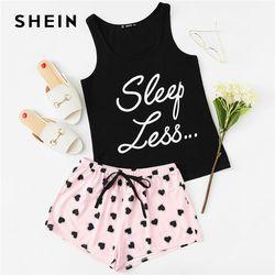 SHEIN топ с буквенным принтом и завязками на талии, шорты, пижамный комплект для женщин, без рукавов, на завязках, консервативная ночная рубашк...