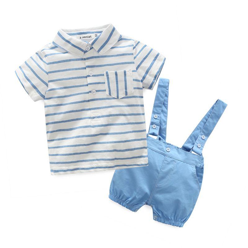 2016 nouveau bleu plaid bébé garçon vêtements chemise avec arc + pantalons décontractés avec sangle gratuite bébé garçon mode vêtements ensemble nouveau-né vêtements