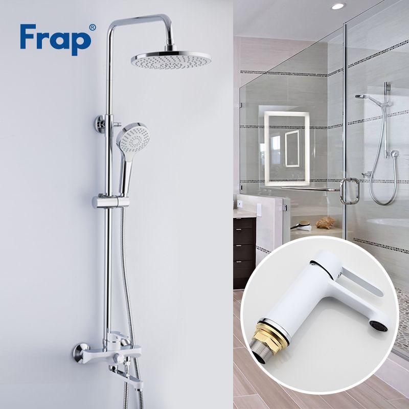 Frap Weiß Dusche Armaturen Bad Wasserhahn Mischer Becken Armaturen Basin Waschbecken Tap Dusche System Sanitär Ware Suite F2441 + F1041