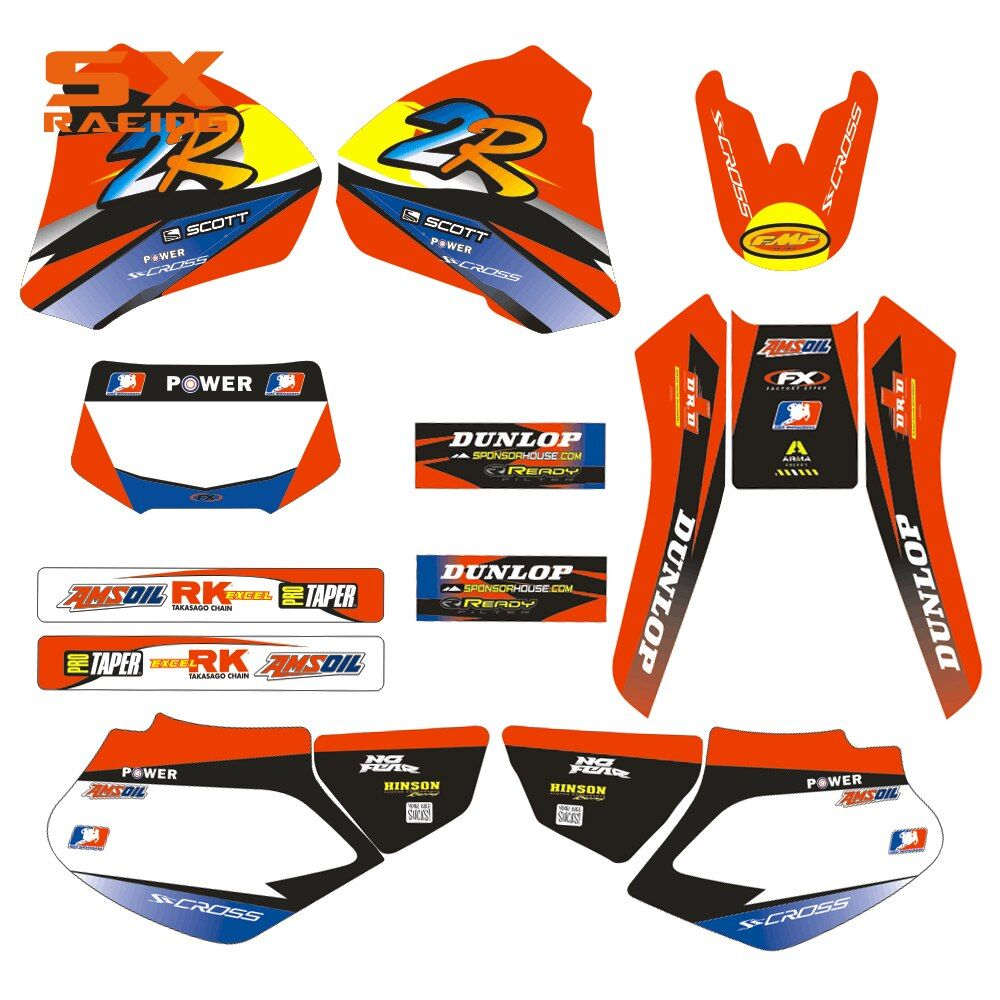 Motorcycle Decals Customize Pattern Custom Made Stickers Set For HONDA XR 250 400 XR250 XR400 98 99 00 01 02 03 04 1998-2004