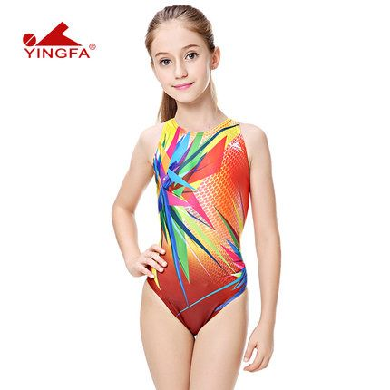 Yingfa professional girls swimwear racing children one piece swimsuits tight GIRLS bathing suits for competition racing swimwear