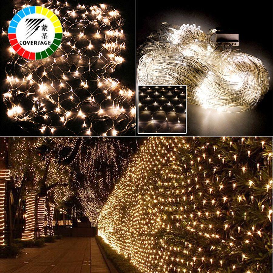 Coversage 2x3M 4x6M Christmas Garlands LED String Christmas Net Lights Fairy Xmas Party <font><b>Garden</b></font> Wedding Decoration Curtain Lights
