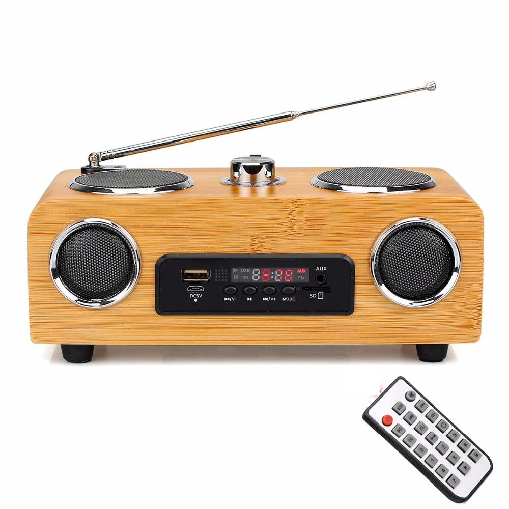 Handmade Bamboo Stereo Multimedia Speaker Classical Radio FM with MP3 Player Remote Control Y4113O