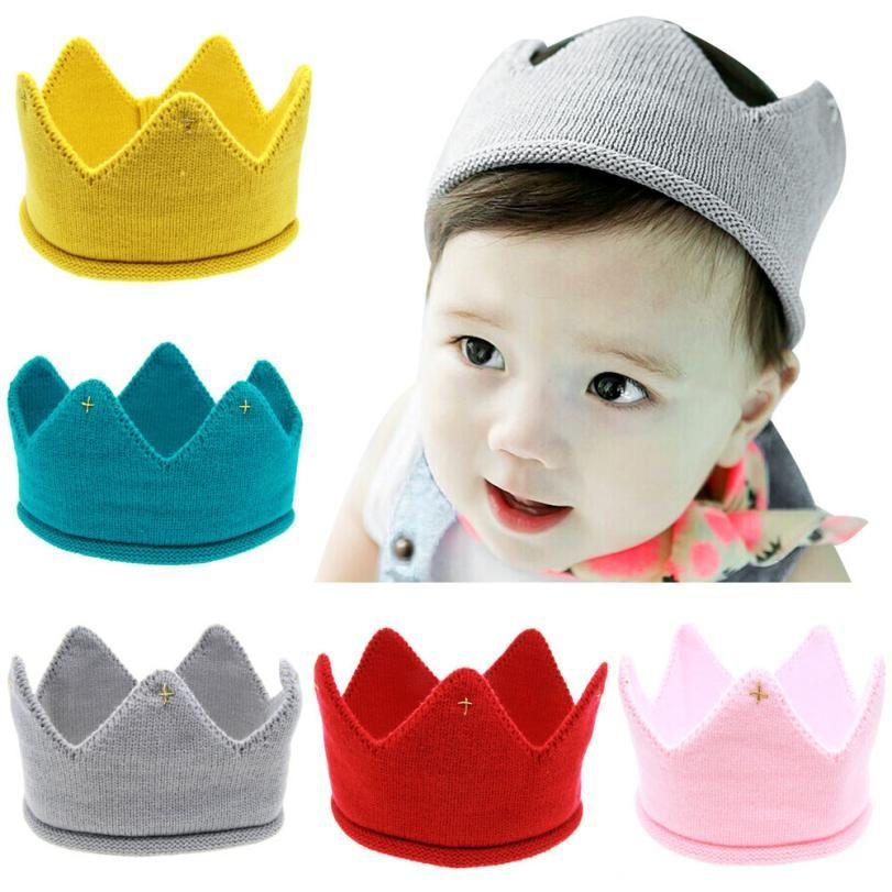 Новый милый для маленьких мальчиков Обувь для девочек Корона вязать шляпа оголовье Прямая доставка y1214