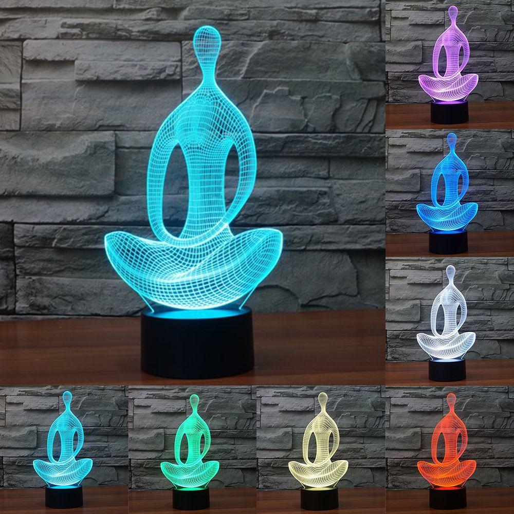 Acrylique 7 Couleur la méditation De Yoga 3D LED veilleuse de chambre lampe salon lumières bureau Décoration De table Night Light IY803367