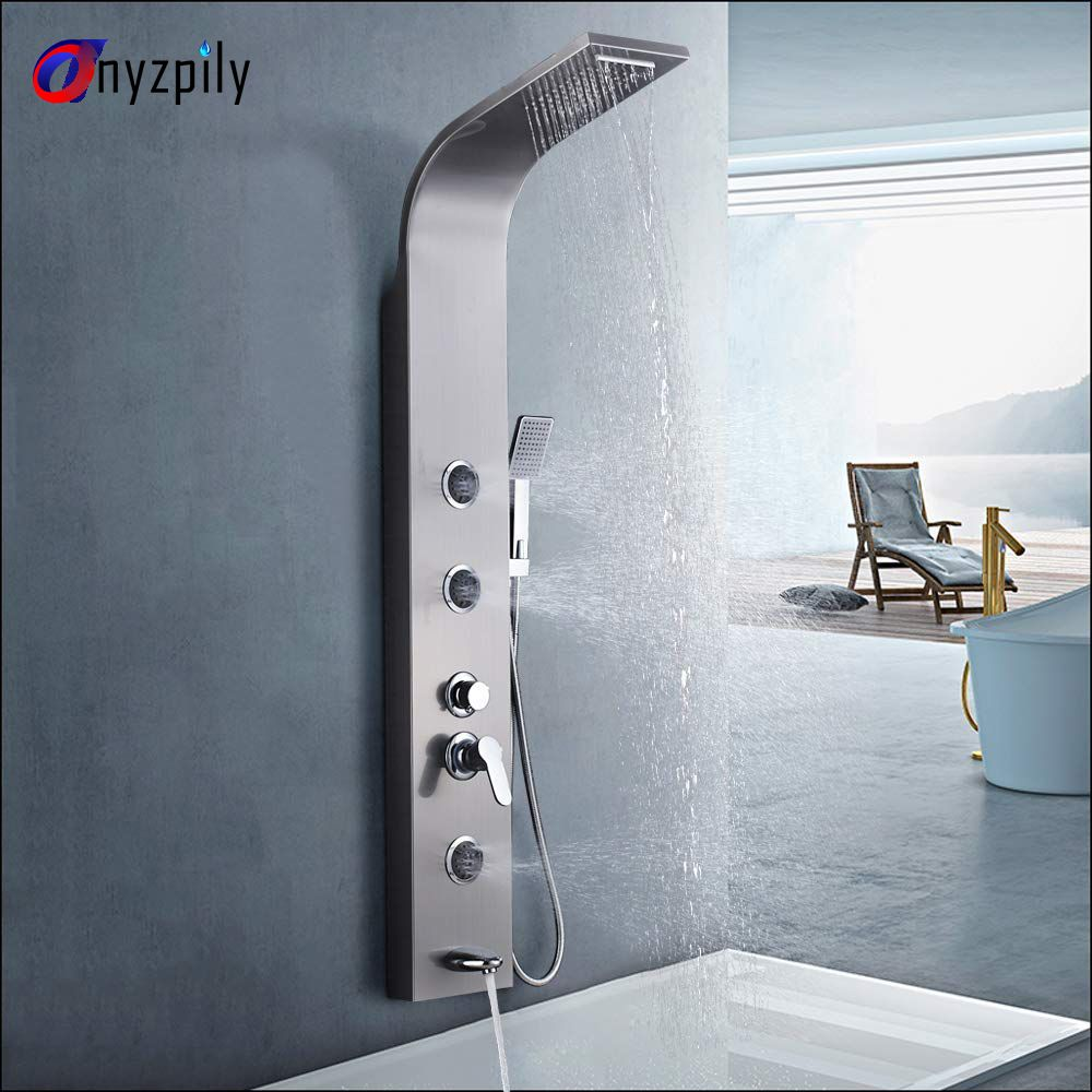 Bathroom 5 Functions Nickel Brushed Shower Panel Waterfall Shower Panel Wall Mounted Shower Faucet Shower Panel Tower System