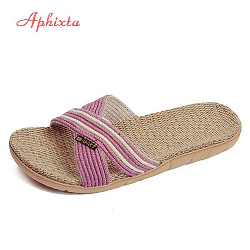 Aphixta automne intérieur pantoufle linge maison chaussures femmes hommes amoureux chaussures plates chanvre sueur-absorbant respirant doux plancher pantoufle