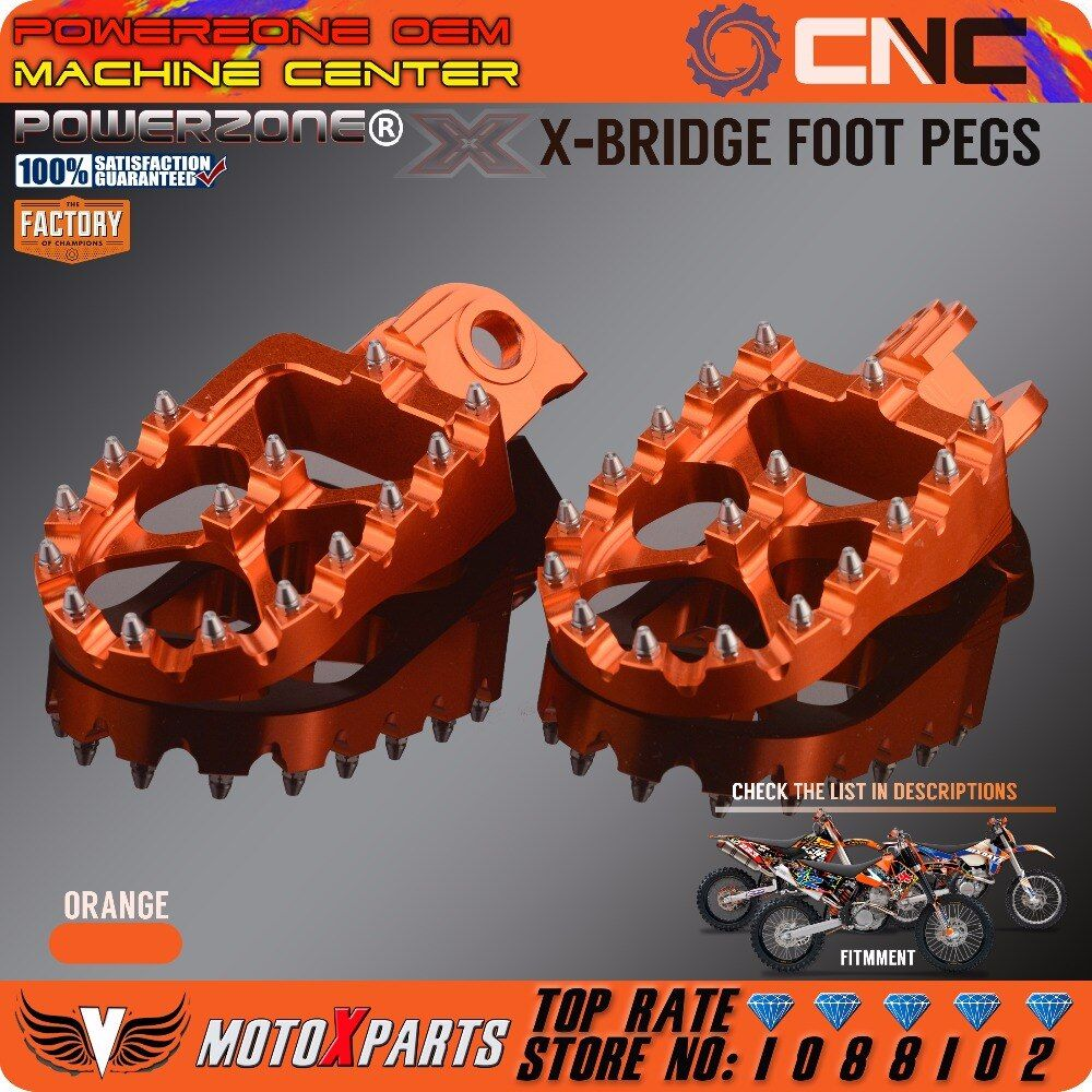POWERZONE Billet CNC Foot Pegs Pedals Rests For KTM EXC SX SXF XC XCW EXCF EXCW XCFW MX SIX DAYS 65 85 125 250-530 MX Enduro