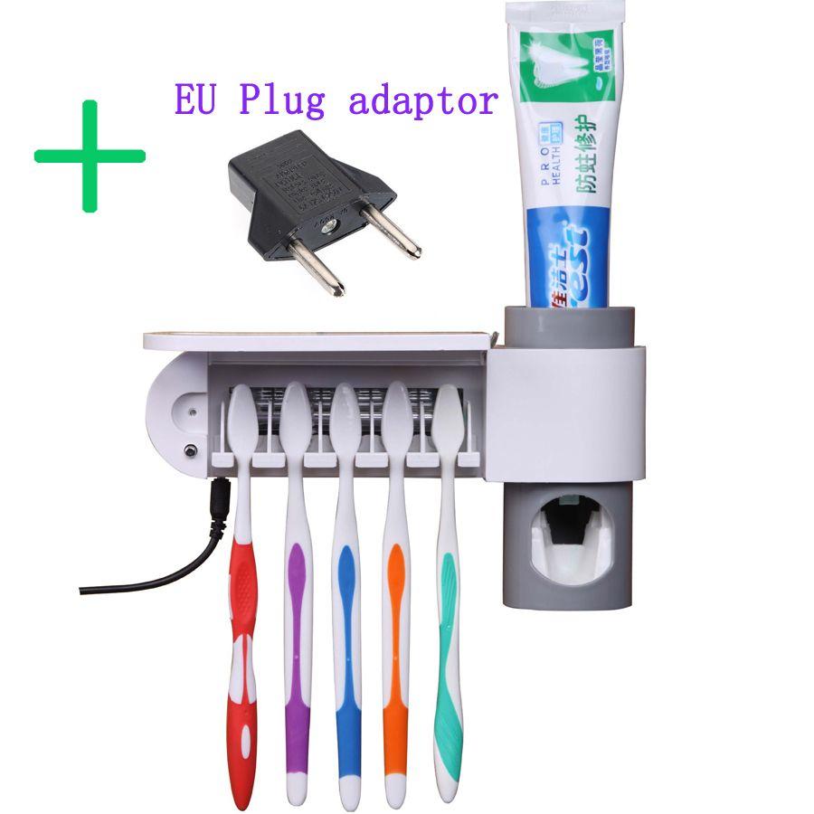 3 dans 1 Antibactérien Ultraviolet Stérilisateur + Distributeur Automatique de Dentifrice Squeezers + 5 Racks Porte Brosse À Dents + UE Plug adaptateur