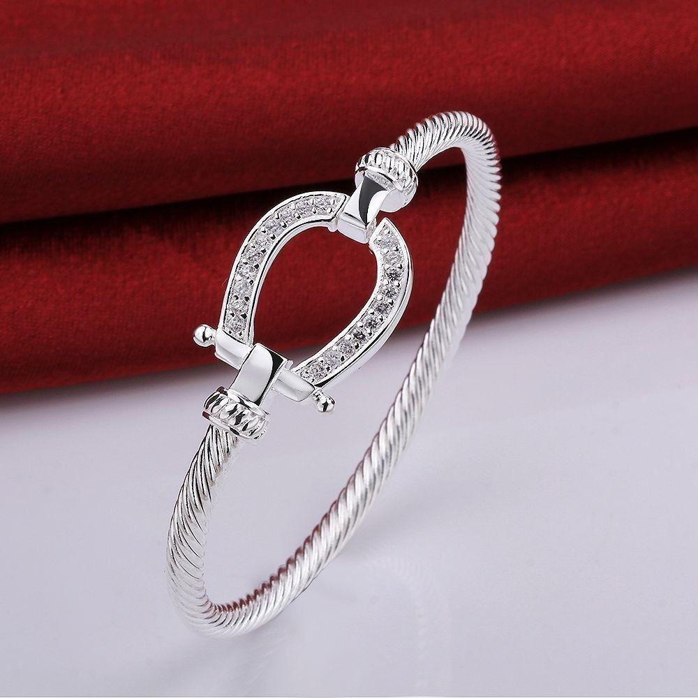 925 embouti argent plaqué Rempli Fer à Cheval Bracelet goutte d'eau Bracelet de mode bijoux Femmes Amour Cadeau du Jour de Valentine