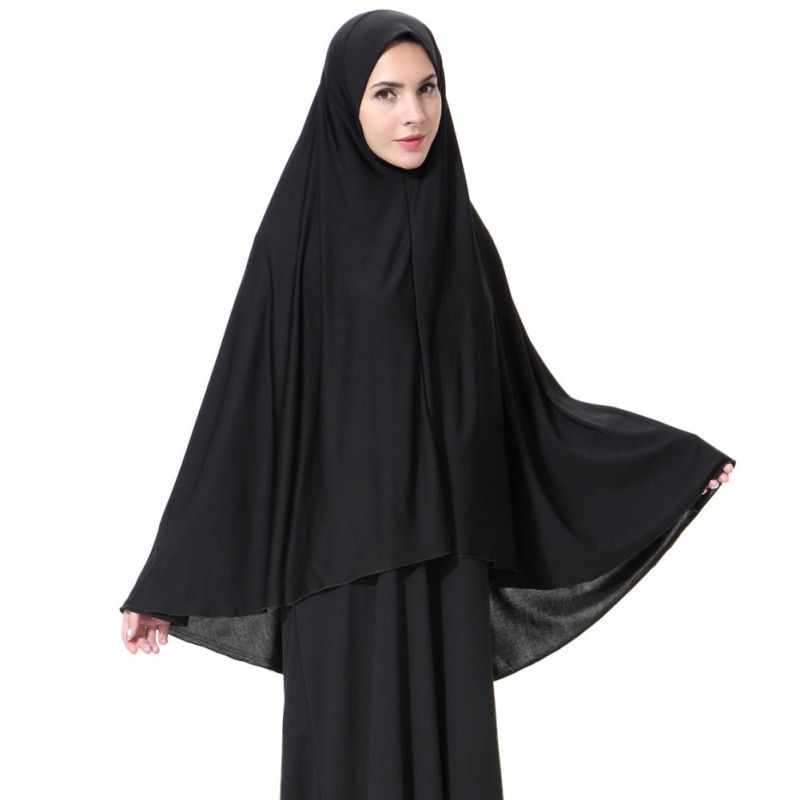Mujeres Rostro Negro Cubierta Abaya Islámica Khimar Ropa Pañuelo Musulmán Hijab Árabe Robe Largo Instante Culto Oración Prenda