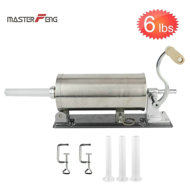6 LBS homemade sausage stuffer filler stainless steel manual table sausage syringe kitchen tool meat processor sausage maker