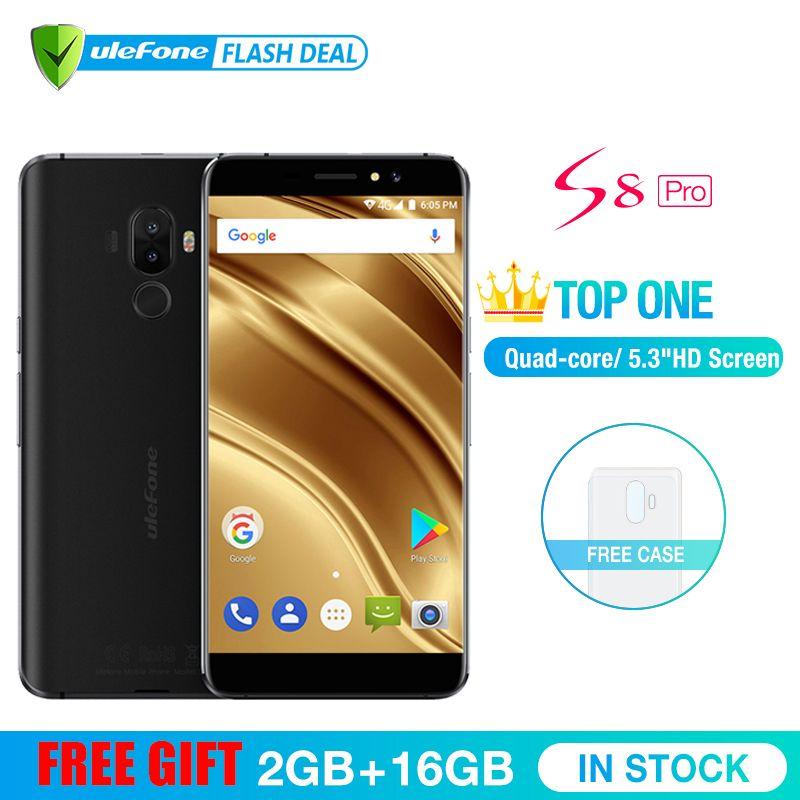 Ulefone S8 Pro téléphone portable 5.3 pouces HD MTK6737 Quad Core Android 7.0 2 GB + 16 GO D'empreintes Digitales 4G smartphone