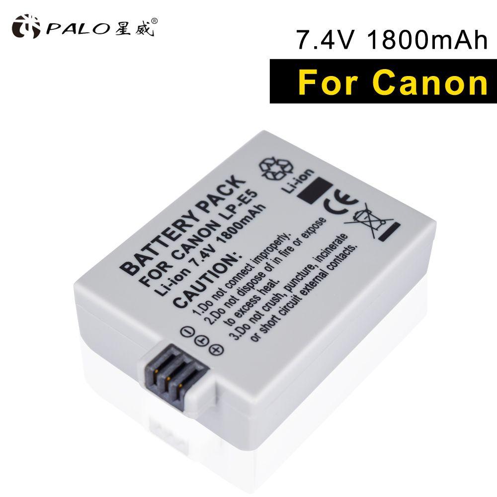 PALO LP-E5 LPE5 LP E5 li-ion batterie appareil photo haute capacité 7.4 V 1800 mah pour Canon Eos 450D 500D 1000D baiser X3 baiser F rebelle Xsi