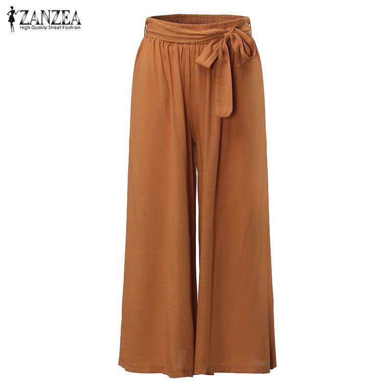 2018 Femmes Casual Lâche Large Jambe Pantalon Vintage Élastique Taille Pantalon Casual Coton Surdimensionné Solide À Long Pantalon Plus La Taille L-5XL