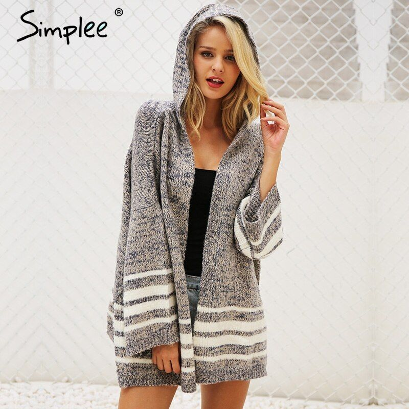 Simplee Hooded <font><b>winter</b></font> knitted sweater cardigan female Flare sleeve loose striped jumper 2017 casual chic autumn sweater women