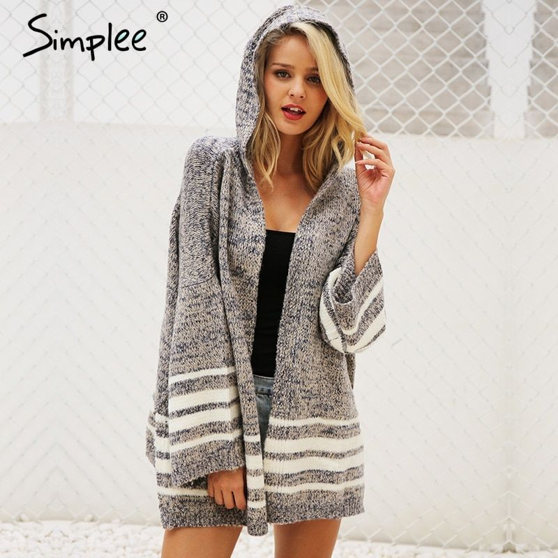 Simplee Hooded winter knitted sweater cardigan female Flare sleeve loose striped jumper <font><b>2017</b></font> casual chic autumn sweater women