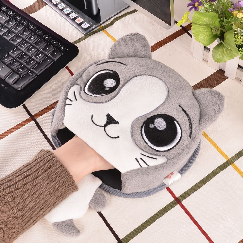 Tapis de souris chaud hiver tapis de souris en peluche épais dessin animé tapis de souris chauffant Port USB avec garde-bracelet