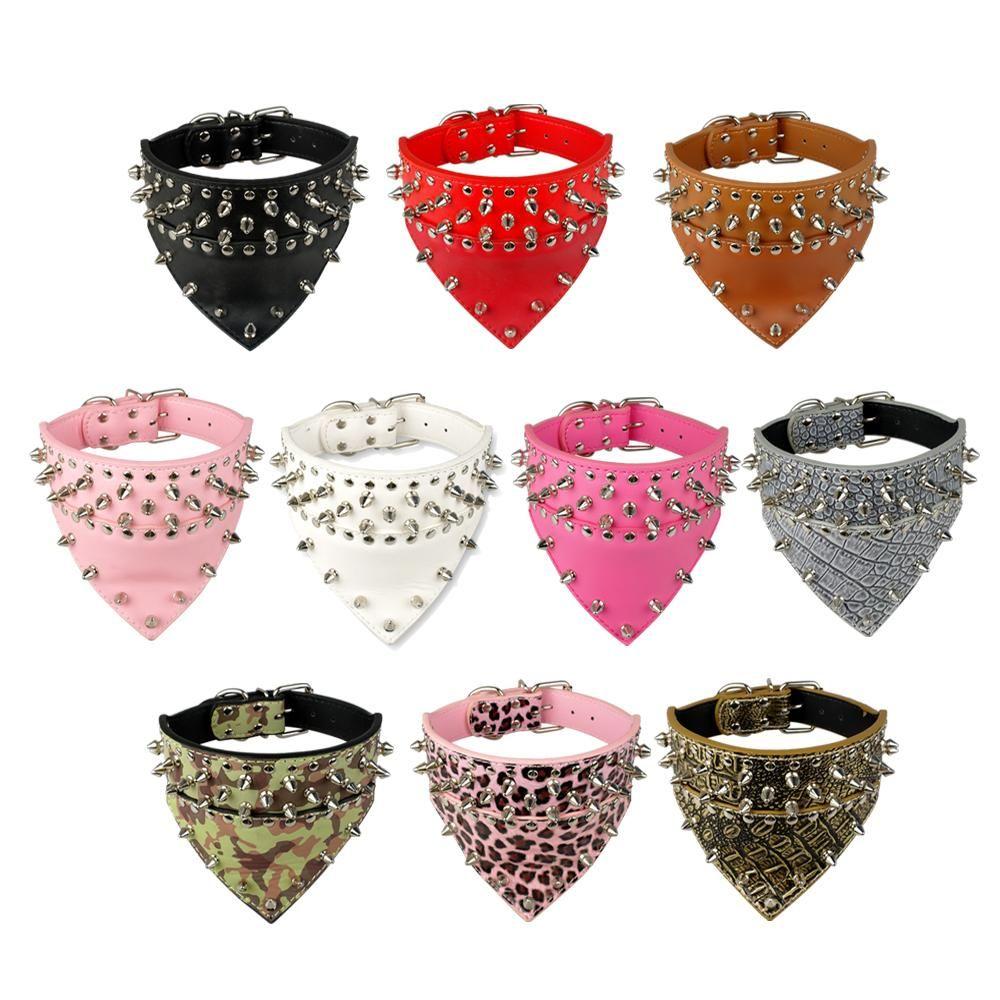 Nouveau Design clouté collier de chien en cuir PU collier pour animaux de compagnie avec taille de cou Bandana pour 15-24 pour les races S/M/L