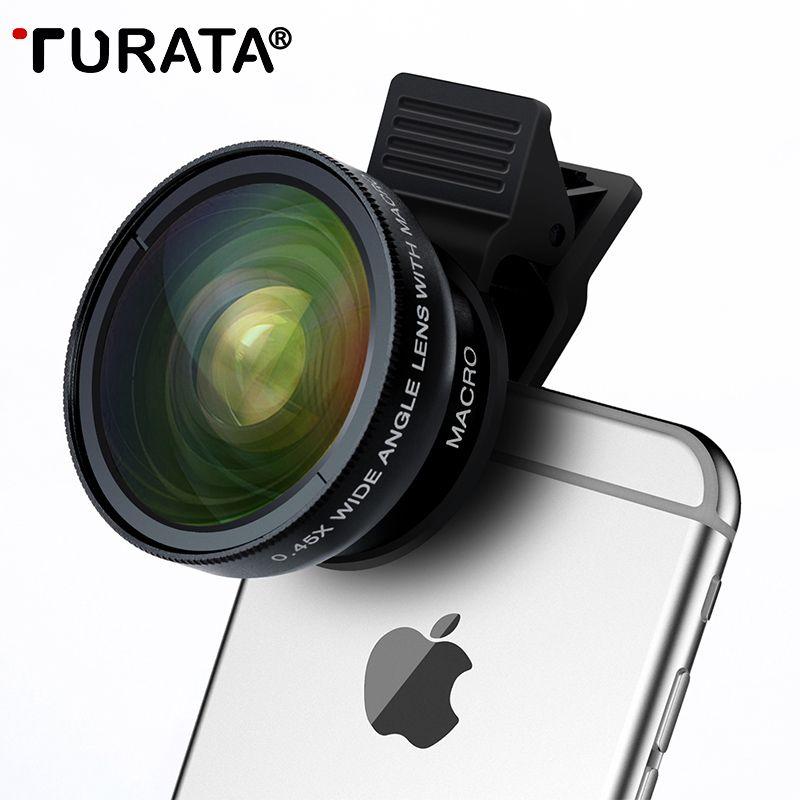 TURATA Fisheye objectif 2 en 1 professionnel HD Kit d'objectif de caméra de téléphone 0.45X grand Angle + 12.5X Macro Clip-on oeil de poisson pour Smartphone
