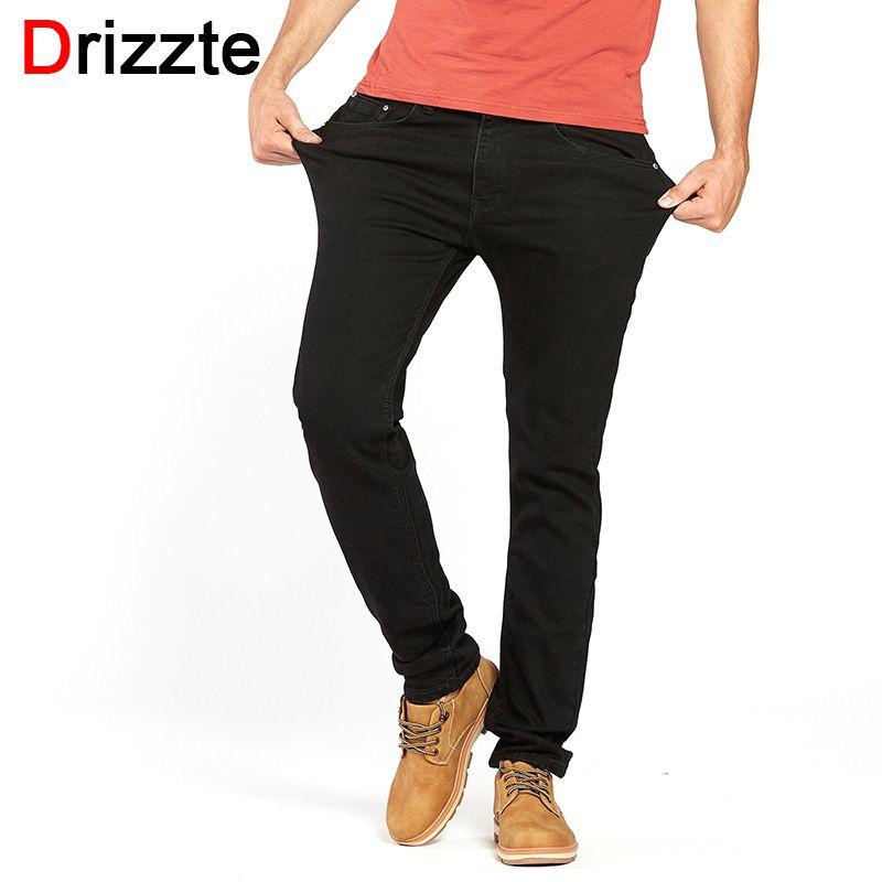 Drizzte Hommes de Jeans Noir Haute Stretch Denim Marque Hommes Jeans Taille 30 32 34 35 36 38 40 42 pantalon Pantalon