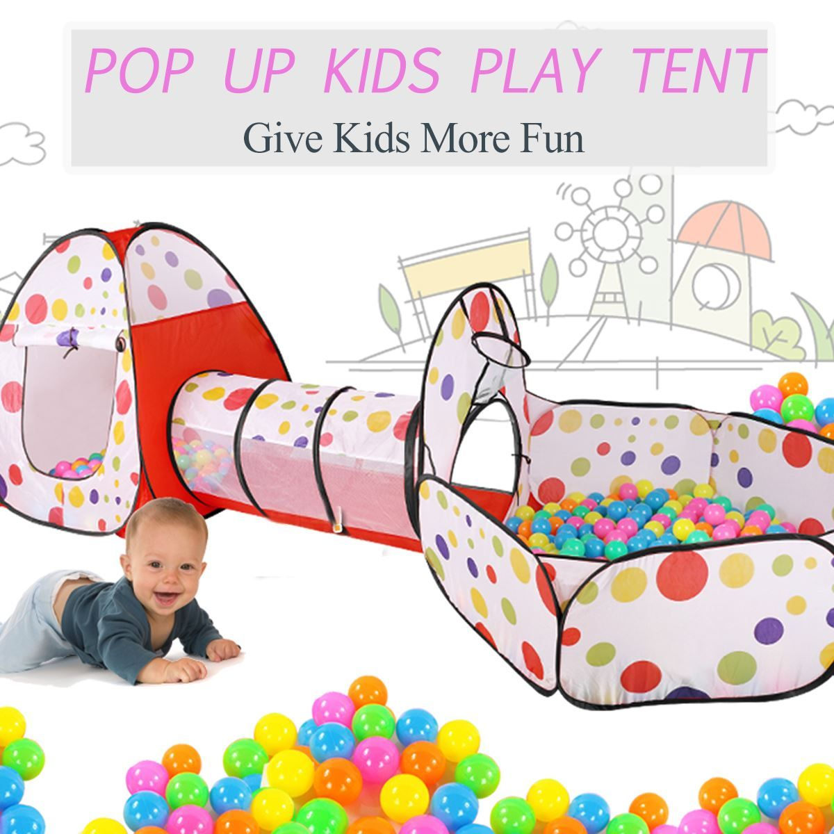 3 in 1 Pop Up Play Tent Playhouse Tunnel Ball Pit Baby Kids Play Folding Toy Indoor Outdoor Playhouse Toy Gift Kids