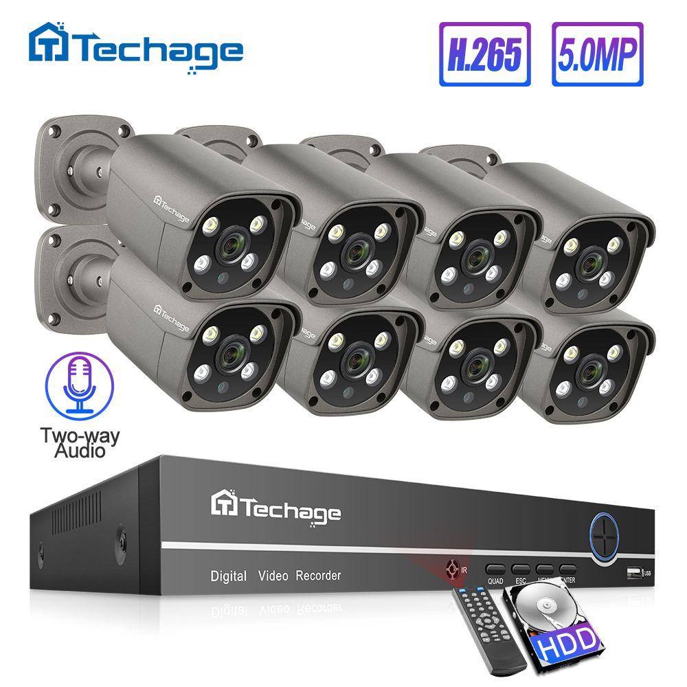 Techage H.265 8CH 5MP POE NVR Kit Sicherheit Kamera System Zwei-weg Audio IP Kamera Im Freien Wasserdichte CCTV Video überwachung Set