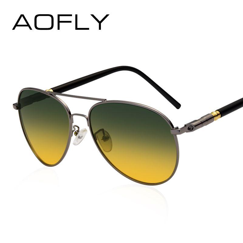 AOFLY Polarisierte Sonnenbrille Männer der Nachtsicht Brille Fahren Anti-Glare Metall Rahmen Marke Design Brille AF8047