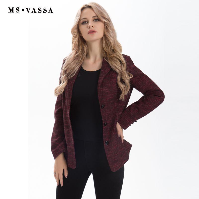 MS Vassa весна блейзер 2017, женская обувь модные тонкие три кнопки закрытия Блейзер Зубчатый воротник Большие размеры XS 6xl Рабочая одежда
