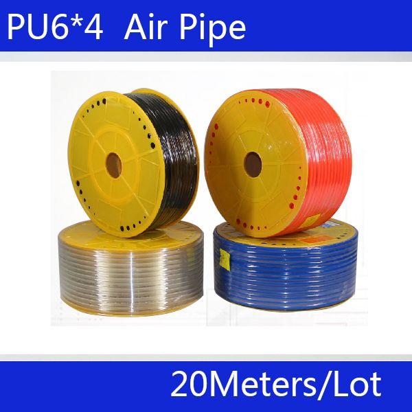 Бесплатная доставка PU трубы 6*4 мм для воздуха и воды 20 м/лот пневматические части пневматический шланг id 4 мм диаметр 6 мм