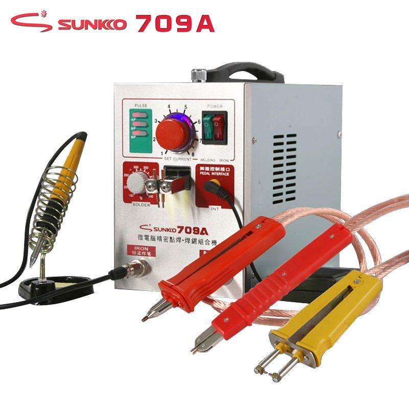 SUNKKO 709A Spot Welder 1.9KW High Power Precision Pulse Battery Spot Welding Machine T12 Soldering Iron For 18650 Battery Packs