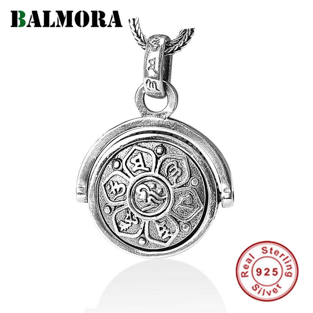 BALMORA 925 Sterling Silver Buddhistic Six Words' Sutra Spinner Charm Pendants & Pendants Necklace for Men Jewelry SY14198\B