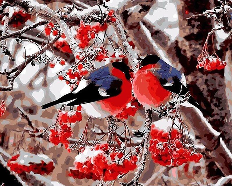 Sans cadre Amant Oiseaux Peinture DIY Par Les Kits de Nombres Peinture Acrylique Image Cadeau Unique Pour la Décoration De Mariage 40x50 cm