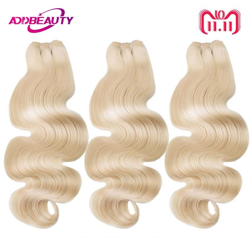 Ali Queen 3 PCS A Lot 613 Blonde Bundle Virgin Body Wave Brazilian One-Donor Human Young Girl Hair Weave Extension For Salon