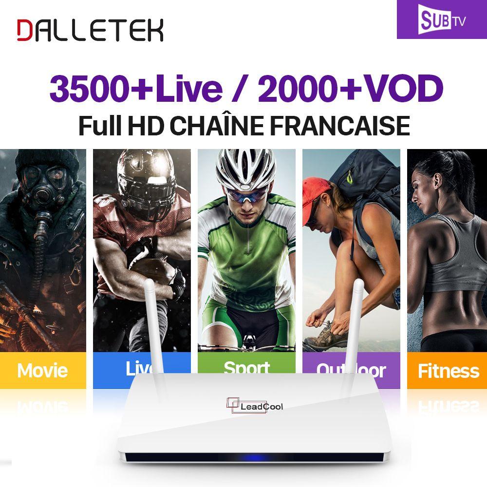Leadcool IPTV STB Android TV Box Dalletektv Arabe Français 3500 Canaux SUBTV IPTV 1 Année Abonnement Europe Arabe IPTV Boîte