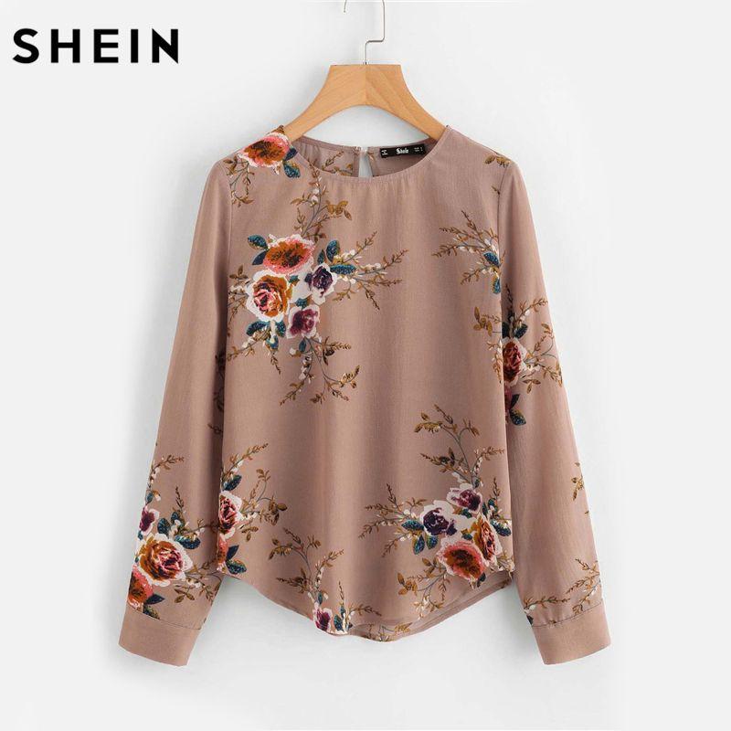 SHEIN Flower Print Keyhole Back Curved Hem Blouse Autumn Women Blouses Long Sleeve Multicolor Floral <font><b>Work</b></font> Wear blouse