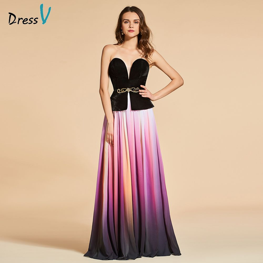 Dressv elegant evening dress sweetheart neck a line sleeves floor-length wedding party formal dress beading evening dresses