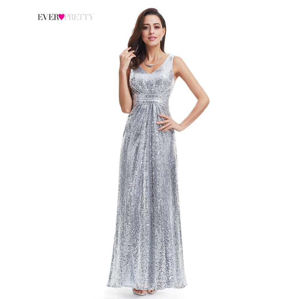 Silver Long Prom Dress Sparkle Ever-Pretty Women 2017 EP07086 Luxury Sleeveless Double V-Neck Elegant Sequin Prom Gown