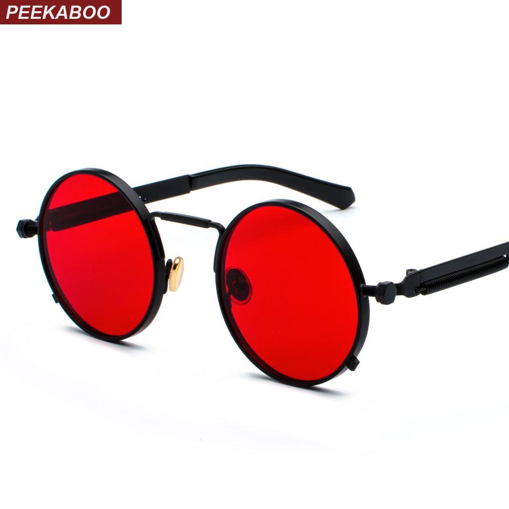 Peekaboo clear red sunglasses men steampunk 2019 metal frame retro vintage round sun glasses for women black uv400