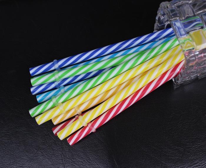 Wholesale-100Pcs Reusable Biodegradable Distored Color Beverage Hard Plastic Stripe drinking Straws